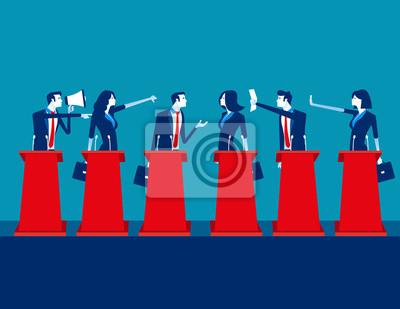 Fototapete Politicians participating in political debate. Concept business team vector illustration, Teams, Debate, Meeting.