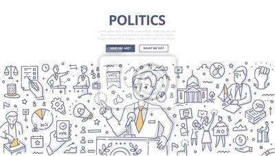 Fototapete Politics Doodle Concept