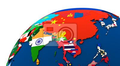 Politische Karte Asien.Fototapete Politische Asien Karte