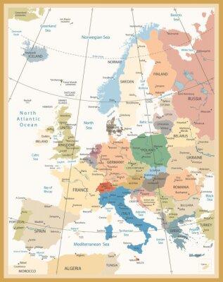 Fototapete Politische Karte von Europa Retro Farben