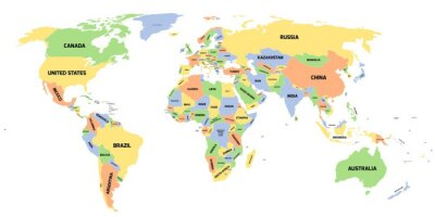 Fototapete Politische Karte von Welt