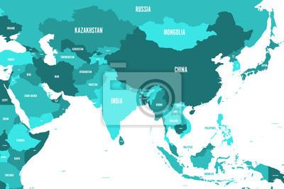 Fototapete Politische Karte von West-, Süd- und Ostasien in Schattierungen von türkisblau. Einfache flache Vektorillustration der modernen Art.