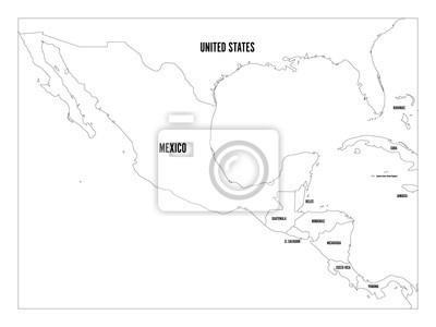 Mexiko Karte Umriss.Fototapete Politische Karte Von Zentralamerika Und Mexiko In Vier Gruntonen