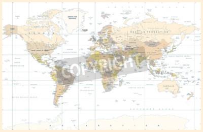 Fototapete Politische körperliche topographische farbige Weltkarte-Vektorillustration