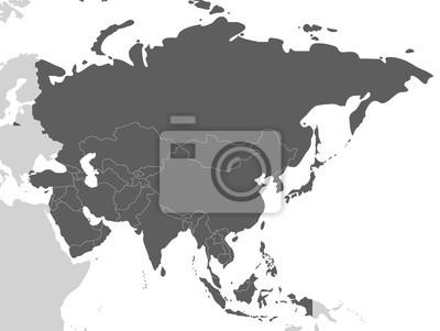 Fototapete Politische leere Asien-Kartenvektorillustration lokalisiert auf weißem Hintergrund. Bearbeitbare und klar beschriftete Ebenen.