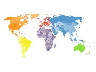 Fototapete Politische Weltkarte auf weißem Hintergrund.