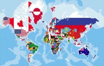 Fototapete Politische Weltkarte mit Länderflaggen.
