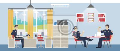 Polizei Burozimmer Offiziere Entspannen Und Essen Donuts