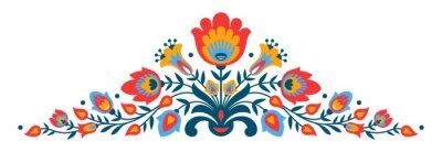 Fototapete Polnische Volks-Papierschnittartblumen