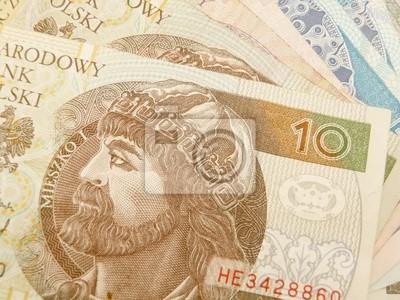 Polnische Zloty Währung Geld Banknoten Und Münzen Fototapete