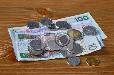 Polnisches Geld Auf Einem Tisch Pln Banknoten Und Münzen Polen