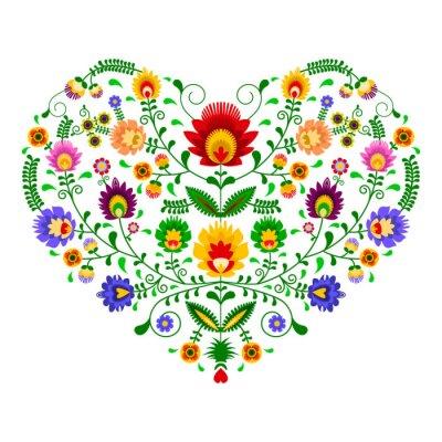 Fototapete Polski folklor - wzór w kształcie serca
