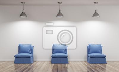 Poltrone blu beleuchten in soggiorno con parquet render 3d ...