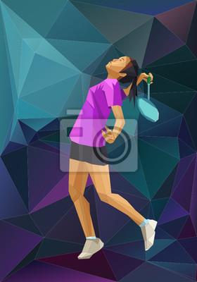 Polygon Hintergrund Kind Badmintonspieler