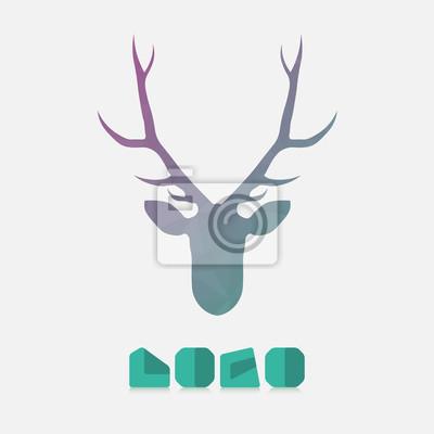 8da4af6f8a4a7f Fototapete Polygonale Hipster Logo mit Kopf des Hirsches in Minze Farbe mit  Farbverlauf