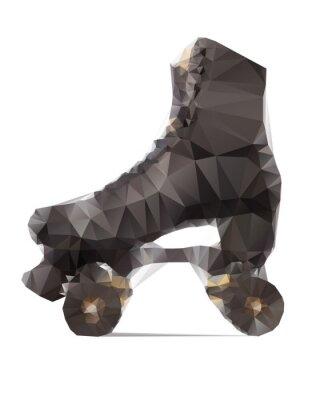 Fototapete Polygonale Illustration der schwarzen Rollschuh isoliert