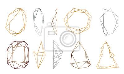 Fototapete polygonale Rahmen gesetzt. Gold, Silber, schwarze Glitzerdreiecke, geometrische Formen. Diamant-Form.