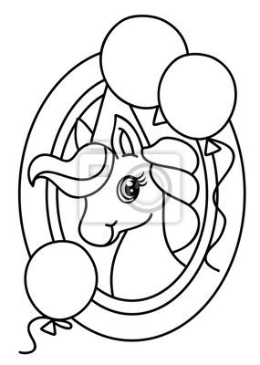 Pony coloring book vector fototapete • fototapeten schwarz, Farbe ...