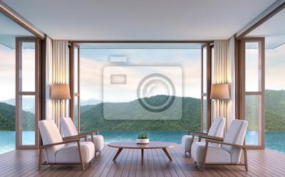 Pool villa wohnzimmer mit blick auf die berge 3d rendering image.the ...