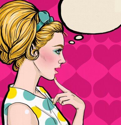 Fototapete Pop Art  blond girl in profile with the speech bubble.