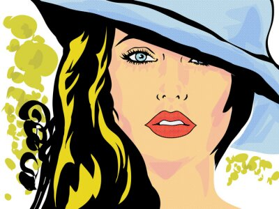 Fototapete Pop-Art-femme visage chapeau, tête