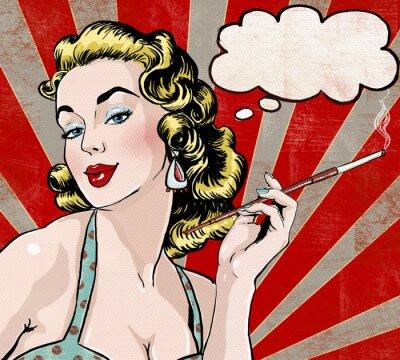 Fototapete Pop-Art-Frau mit der Sprechblase und Zigarette.