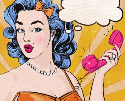 Fototapete Pop Art girl with  speech bubble and retro telephone.