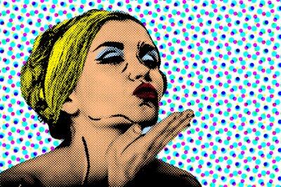Fototapete Pop-Art komische Artfrau, Retro Plakat