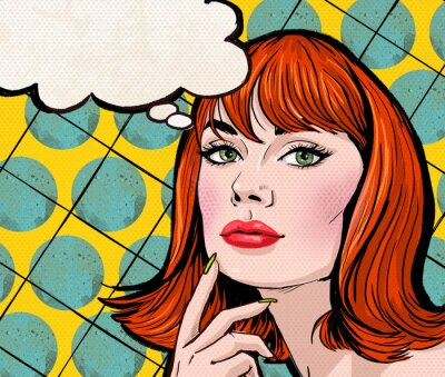 Fototapete Pop-Art-Mädchen mit der Sprechblase.