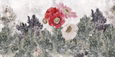 Fototapete Poppies flowers illustration. Poppies painted on the grunge wall. Beautiful design for card, postcard, picture, mural, wallpaper, photo wallpaper.
