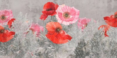 Fototapete Poppies flowers illustration. Poppies painted on the grunge wall. Beautiful design for postcard, picture, mural, wallpaper, photo wallpaper.