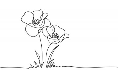 Fototapete Poppy flowers in continuous line art drawing style. Doodle floral border with two flowers blooming among grass. Minimalist black linear design isolated on white background. Vector illustration