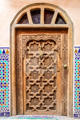 Porte décoré maison marokain fototapete • fototapeten Palmenhain ...