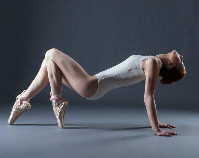 Fototapete Portrait der emotionalen anmutigen Tänzer auf Pointes