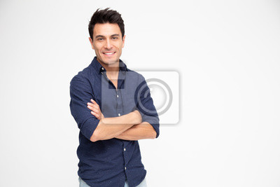 Fototapete Portrait of Caucasian man with arms crossed and smile isolated over white background, Looking at camera, Happy feeling concept