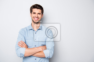 Fototapete Portrait of positive cheerful reliable freelancer feel success in university college education learning real expert wear casual style clothes isolated over grey color background