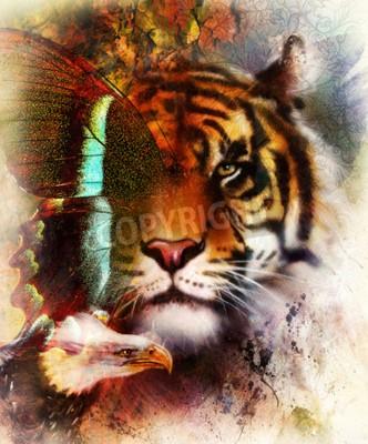 Fototapete Portrait Tiger mit Adler und Schmetterling Flügel .. Farbe Zusammenfassung Hintergrund und Ornament, Vintage-Struktur. Tier Konzept