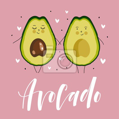 Postkarte Valentinstag Avocado Paar Cartoon Comic Essen