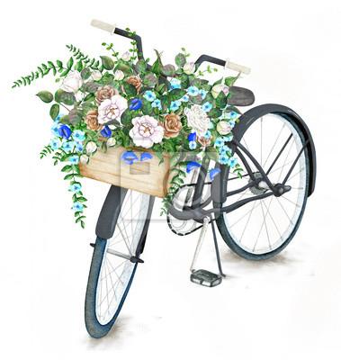 Postkarte vorlage mit weißem fahrrad und rose korb auf ...