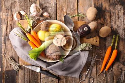 Pot Au Feu Brühe Mit Fleisch Und Gemüse Fototapete Fototapeten