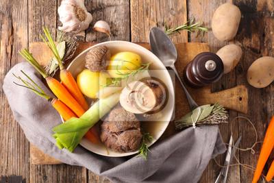 Pot Au Feu Rindfleisch Mit Brühe Und Gemüse Fototapete