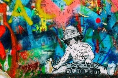 Fototapete Prag, Tschechien - 10. Oktober 2014: Berühmter Ort in Prag - Die John Lennon Wall. Wand ist mit John Lennon inspiriert Graffiti und Texte von Beatles Songs gefüllt