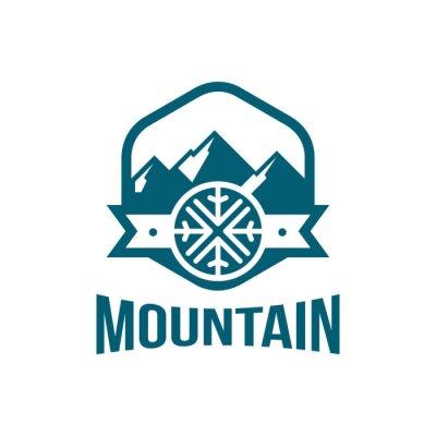 Premium berg schneeflocken logo in sechseck form fototapete ...