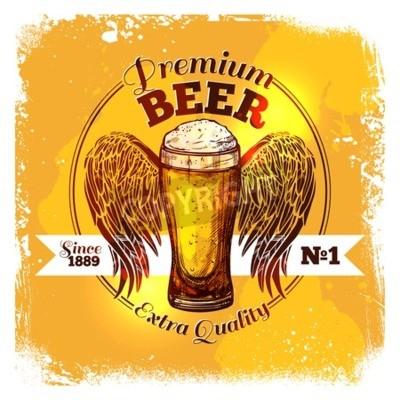 Fototapete Premium-Qualität Bier-Label mit Sketch Glas Getränk mit Ornament Vektor-Illustration