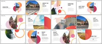Fototapete Presentation design vector templates, multipurpose template for presentation slide, flyer, brochure cover design, infographic report. Simple design background with circles, geometric round shapes.