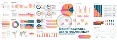 Fototapete Presentation Template design. Business data graphs. Vector financial and marketing charts.