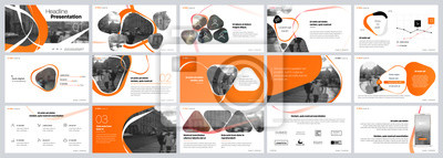 Fototapete Presentation template. Orange elements for slide presentations on a white background. Use also as a flyer, brochure, corporate report, marketing, advertising, annual report, banner. Vector