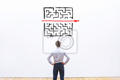 Fototapete problem and solution concept, business man thinking about exit from complex labyrinth