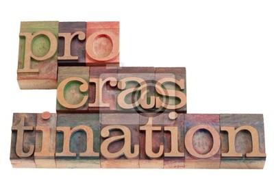 Procrastination Wort abstrakt