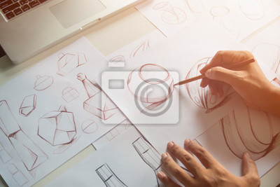 Fototapete Production designer sketching Drawing Development Design product packaging prototype idea Creative Concept